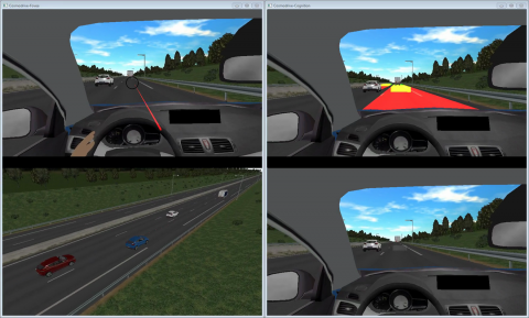 ESI Pro-SiVIC Visual output of the Cognitive simulation model of the driver from an ESI and IFSTTAR-LESCOT project.