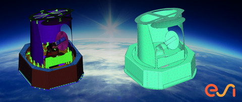 FEM and BEM vibro-acoustic simulation models of a satellite payload for space applications with ESI VA One.